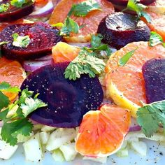 This Orange Beet Fennel Salad is healthy, delicious, and has a beautiful presentation to serve at a luncheon or dinner party!