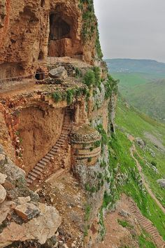 Arbel Fortress Cliff in Galilee, northern Israel (This looks like a location used in a movie, but I can't remember the name of the movie. :( )