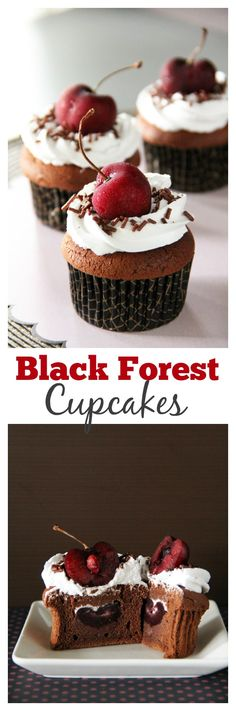 Black forest cupcakes - your favorite cake in a petite cupcake size. Amazing and delicious. Get the recipe now | rasamalaysia.com