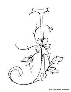 Suite alphabet fleuri - Broderie d'Antan j/ monogram / hand drawn type / fonts and flowers / sketch / Embroidery Alphabet, Embroidery Monogram, Ribbon Embroidery, Cross Stitch Embroidery, Embroidery Designs, Monogram Stencil, Fancy Letters, Letters And Numbers, Decoupage