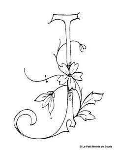 Suite alphabet fleuri - Broderie d'Antan j/ monogram / hand drawn type / fonts and flowers / sketch / Embroidery Alphabet, Embroidery Monogram, Ribbon Embroidery, Cross Stitch Embroidery, Embroidery Designs, Monogram Stencil, J Tattoo, Fancy Letters, Decoupage