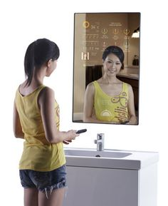 The Cybertecture® Mirror is a reflective mirror with programmable applications and digital display for the home, office and public environments (hotels, hospitals, retail shops).