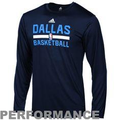 Youth Dallas Mavericks adidas Navy Blue Practice ClimaLITE Long Sleeve T-Shirt