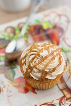 Apple cupcakes with salted caramel buttercream