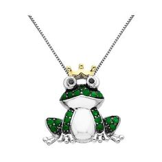 . CT.T.. Created Emerald Frog Pendant Necklace in Sterling Silver with... (1.744.775 IDR) ❤ liked on Polyvore featuring jewelry, necklaces, green, anklet bracelet, sterling silver necklaces, emerald bracelet, diamond necklaces and diamond pendant necklace