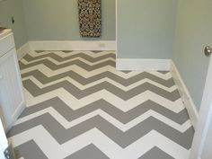 Painted concrete floor in the laundry room.