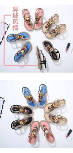 e654abea78e8de Woman Shoes Simple Flip Flops Korean Style Bohemia Beaded Soft Girl Flat  Sandals