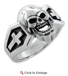 $49.99 * Sterling Silver Skull Cross Sides Ring