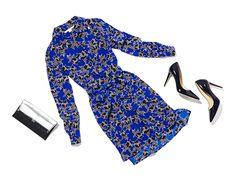 DVF Prita Silk Shirt Dress In Twinkle Cobalt & Bethany 100MM Pump In Black & 440 Envelope Mirrored Metallic Clutch In Silver/ Black