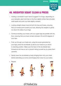 Fichier PDF - Aperçu et lecture en ligne du fichier kayla-itsines-exercises-and-training-plan.pdf par Bikini Body Company Pty Ltd Bikini Body Guide, Fitness Bikini, Bikini Workout, Kayla Itsines Workout, Weighted Squats, Clean And Press, Training Plan, Bbg, Bikini Bodies