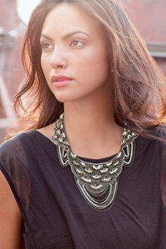 NIB Stella and Dot Marrakesh Bib Statement Necklace Beaded Sequin Crystals Chain #StellaandDot #Statement