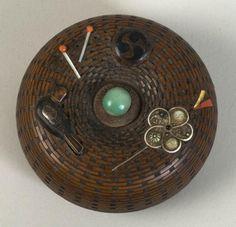 Japan, Basket Netsuke, coral/ivory/jade/gold/silver/shakudo/wood, c. early 20th c.  #art