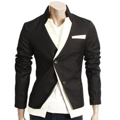 Mens Casual Unballance One Doublju Button Blazer (LJ05-BLACK)