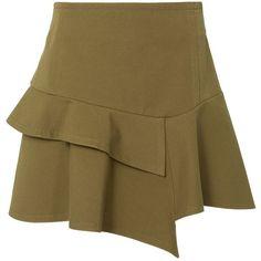 Derek Lam 10 Crosby Women's Asymmetric Ruffle Mini Skirt ($350) ❤ liked on Polyvore featuring skirts, mini skirts, green, cotton skirts, green skirt, asymmetrical ruffle skirt, brown skirt and mini skirt