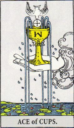 Ace of Cups means love, unconditional love, peace, no harm or harmless, people getting along, cooperating, going with the flow, peace and quiet. It includes things you love, places you love to be. It means things like easy, benefit, wholesome or good for you or 'for your own good,' healthful and healthy. It also means water, flow, leak, movement of liquids (like blood vessels, tissue, seepage in rocks).  The illustration of the fountain overflowing speaks of divine spirit flowing through…