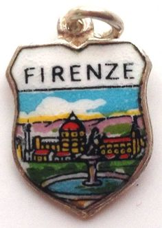 Firenze Italy - Florence Scene - Vintage Silver & Enamel Travel Shield Charm