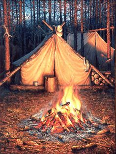 """""""Keeping the Wolves Outta Camp"""" .. 24"""" X 18"""" ... A bright fire that was tended all night due to the wolves that were patrolling the area around our camp in far north Alberta. The tent with the hat was the guide's tent. The painting was done from a small ball point pen sketch in a 8"""" X 5"""" sketchbook."""