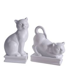 Another great find on #zulily! White Cat Bookend - Set of Two by Established 98 #zulilyfinds