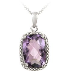 Glitzy Rocks Silver 5 1/10ct TGW Amethyst and Diamond Accent Necklace ($24) ❤ liked on Polyvore featuring jewelry, necklaces, purple, purple necklace, long chain necklace, pendant necklace, silver amethyst necklace and purple pendant necklace
