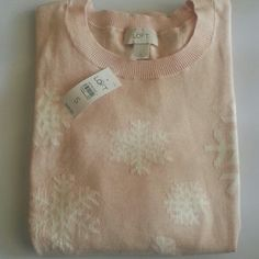 """NWT Loft Ann Taylor Pink Snow Sweater Small size pink color 100% Cotton armpit to armpit 17.5"""" LOFT Sweaters"""