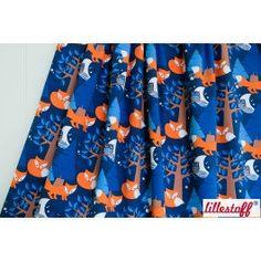 Night Fox Lillestoff Organic Jersey - Blue and Orange - UK seller - Sold by the HALF METRE