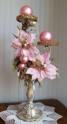 Offering this stunning shabby/cottage chic arrangement that holds two pillar candles. I dry brushed Rose Gold Christmas Decorations, Christmas Floral Arrangements, Christmas Table Centerpieces, Shabby Chic Christmas, Victorian Christmas, Christmas Wreaths, Christmas Crafts, Woodland Christmas, Christmas Christmas