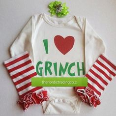 I Love the Grinch Big Red Heart Bodysuit Leg Warmers Baby Girls Christmas Set Bow / Headband Infant Girls Sets Clothing Xmas Photo Outfits