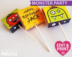Perfect for favours, table displays or even gifts. These monster lolly wrappers add a unique wrapper to lolly pops and you can customise them with your own message & the birthday boy or girl's age & name! There's 6 different lolly wrappers per page! Create unique children's parties with Wow Wow Meow's downloadable templates. Edit the content & print. WWW.WOWWOWMEOW.COM