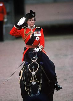 """HM Queen Elizabeth II on her horse, Burmese, for Trooping the Colour, c.1980."" Give the lady credit, she looks fabulous."