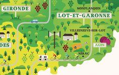 Aquitaine, France Map / Observer Newspaper by Neil Stevens, via Behance