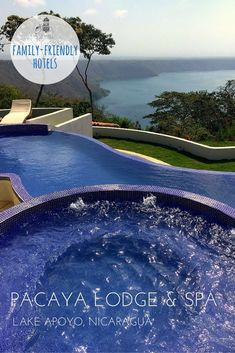 Family Hotel Review: Pacaya Lodge and Spa, Lake Apoyo, Nicaragua.   A luxury boutique hotel and spa, with spectacular views of Lake Apoyo and Volcano Mombacho. There are lots of luxury resorts in Nicaraguas beach destinations but few in locations that ar
