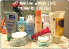 A step-by-step breakdown of a typical Night Time Korean Skincare Routine ! Including Innisfree, Holika Holika, Etude House, and More :)