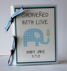 Personalized PHOTO ALBUM or BABY Advice Book for Boy Baby Shower Blue & Brown Elephant