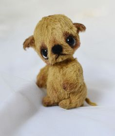 OOAK Artist Brown Dog Miniature by Natalia Koroleva