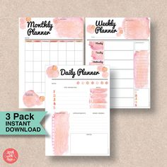 Picture this pretty coral and roze quartz planner pack in your filofax. The pack contains daily, weekly and monthly A5 planner printables for 2017.