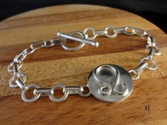 Leo Zodiac Bracelet With Toggle, Handmade, 925 Sterling Silver, SZ-7.5