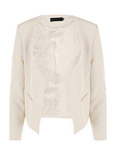 Blazer, Form, Creme, Blouse, Long Sleeve, Sleeves, Fashion, Waterfall, Blouse Band