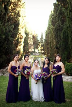 purple bridesmaid dresses are stunning.