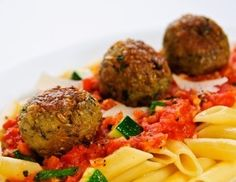 Freekah Vegetarian Meatballs.  I got turned onto Freekah by the guy who runs the Nile Market in Fredericksburg.  This stuff tastes great, has 17 grams of fiber and 13 of protein!  I would not serve it over pasta as shown here, because that seems like a bit of carb overload, but I think the meatballs look like a yummy and different way of having this ancient grain!