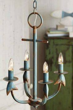 Beach Cottage / Rustic Aqua Blue and Rust  Anchor Beach House Chandelier