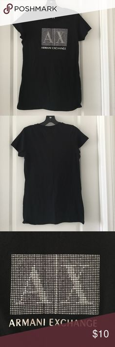 USED A/X Armani Exchange Women's Black T-Shirt Pre-owned A/X Armani Exchange Black T-Shirt, short sleeves, crew neck, rhinestone & iconic AX logo across the chest, excellent condition like new A/X Armani Exchange Tops Tees - Short Sleeve