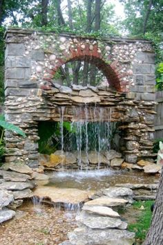 Need this rock waterfall in my backyard relaxing it would be :)
