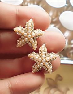 Crystal & Pearl Starfish Earrings ♡