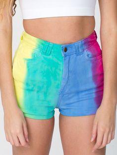 Rainbow High-Waist Side Zipper Short. #AmericanApparel