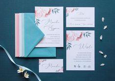 wedding invitations pink flowers, miodunka papeteria, różowe kwiaty na zaproszeniu, akwarelowe zaproszenia, karta menu Nalu, Wedding Stationery, Pink, Pink Hair, Roses, Wedding Invitations, Wedding Invitation