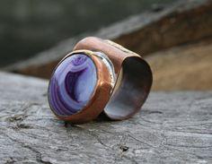 copper ring agate ring gemstone ring by Blacksmithworkshop on Etsy
