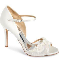 Ivory wedding shoes with floral applique Peep Toe Heels, Pointed Toe Pumps, Stiletto Heels, Block Heel Platform Sandals, Ankle Strap Sandals, Badgley Mischka Shoes Wedding, Future Mrs, Designer Wedding Shoes, Bride Shoes