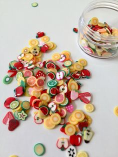 250 Thin Slices Fruit Polymer Clay with Small Jar  by LaCottonBear