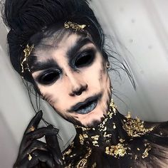 October 27th! Soul eater. (Why is there no heart emoji?) I feckin dated yesterday post as the 27th as well and now I can't change it, my bad October 26th - you get no recognition) I used: @meltcosmetics dark matter & gunmetal @maccosmetics black black chromacake @maybelline Kajal black liner Gold leaf from charity shop, applied with @litcosmetics clearly glitter base - wouldn't recommend, use an actual adhesive for an easier time! Black hair spray from Amazon! Cotton buds (a staple ...