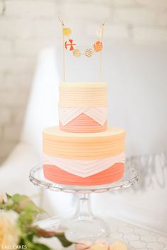 Peaches & Cream Cake Trio by Lael Cakes  |  TheCakeBlog.com    Cake 3 - layers of geometric block colors that is just plain awesome!